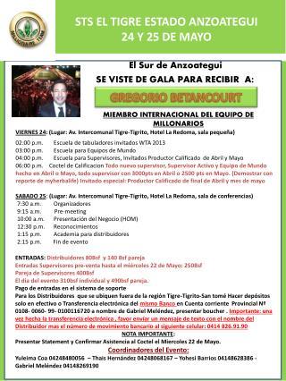 STS EL TIGRE ESTADO ANZOATEGUI 24 Y 25 DE MAYO