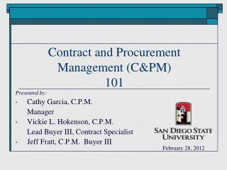 Contract and Procurement Management (C&PM) 101