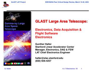 GLAST Large Area Telescope: Electronics, Data Acquisition & Flight Software  Electronics