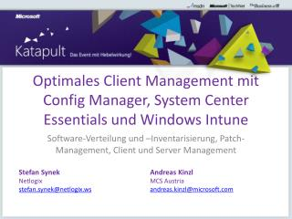 Optimales Client Management mit  Config  Manager, System Center Essentials und Windows  Intune