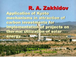 CAPACT Project  4-6 July , 2007,  Almaty, Kazakhstan