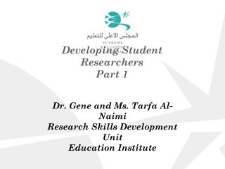 Developing Student Researchers Part 1