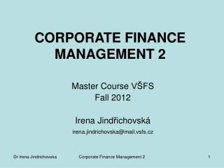 CORPORATE FINANCE MANAGEMENT 2