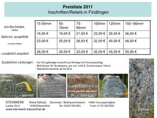 Preisliste 2011  Inschriften/Reliefs in Findlingen