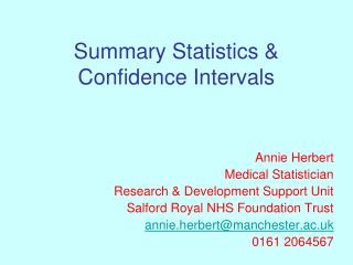 Summary Statistics & Confidence Intervals