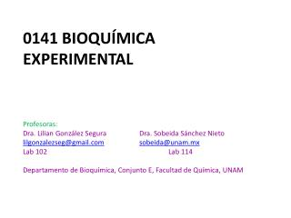 0141 Bioquímica Experimental