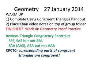 Geometry    27 January 2014