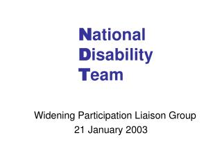 N ational D isability T eam