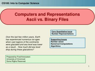Computers and Representations Ascii vs. Binary Files