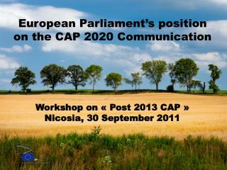 European Parliament�s position on the CAP 2020 Communication