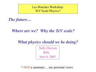 The future… Where are we?  Why the TeV scale? What physics should we be doing? Sally Dawson