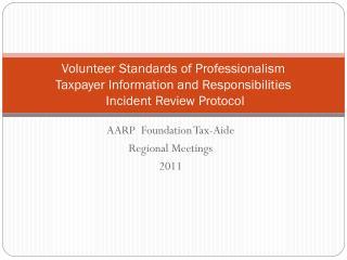 AARP  Foundation Tax-Aide Regional Meetings 2011