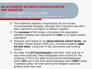 RELATIONSHIP BETWEEN OSTEOARTHRITIS AND DIABETES
