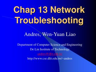 Chap 13 Network Troubleshooting