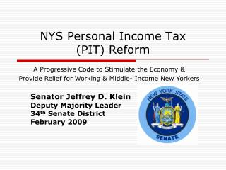 NYS Personal Income Tax  (PIT) Reform