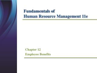 Chapter 12 Employee Benefits