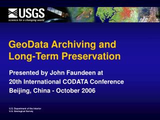 GeoData Archiving and Long-Term Preservation