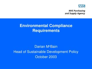 Environmental Compliance Requirements