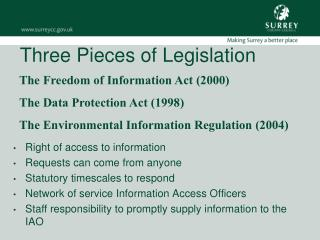 Three Pieces of Legislation