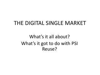 THE DIGITAL SINGLE MARKET