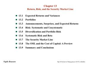 Chapter 13 Return, Risk, and the Security Market Line