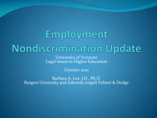 Employment Nondiscrimination Update