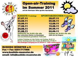Open-air-Training im Sommer 2011 auf der Sentruper Höhe (großer Sportplatz)