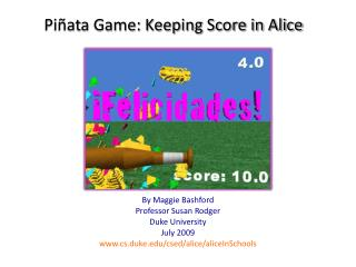 Piñata Game: Keeping Score in Alice