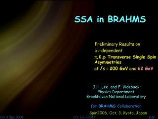 SSA in BRAHMS