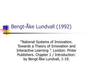 Bengt- ke Lundvall 1992