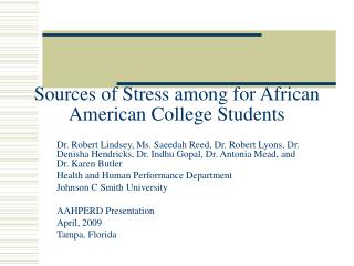 Sources of Stress among for African American College Students