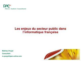 Les enjeux du secteur public dans l'informatique française