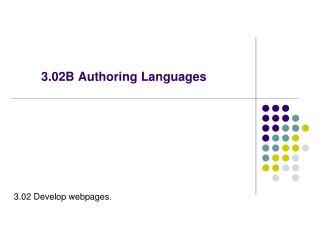 3.02B Authoring Languages
