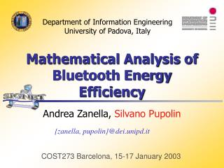 Mathematical Analysis of Bluetooth Energy Efficiency