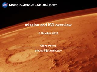 mission and ISD overview 6 October 2003