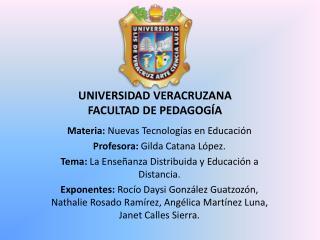 UNIVERSIDAD VERACRUZANA FACULTAD DE PEDAGOG�A