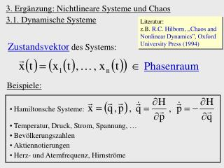3. Erg�nzung: Nichtlineare Systeme und Chaos