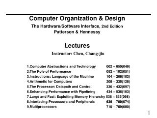 Computer Organization  Design The Hardware
