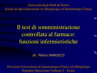Il test di somministrazione controllata al farmaco: funzioni infermieristiche
