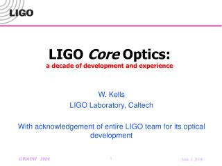 LIGO  Core  Optics: a decade of development and experience