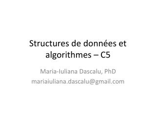 Structures de donn�es et algorithmes � C5