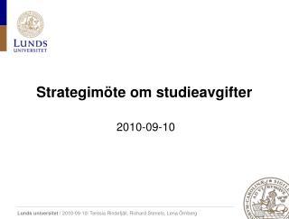 Strategimöte om studieavgifter