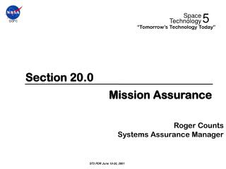 Section 20.0 Mission Assurance