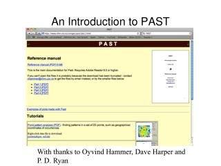 An Introduction to PAST