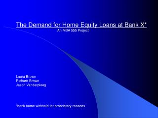 The Demand for Home Equity Loans at Bank X*