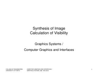 Synthesis of Image Calculation of Visibility