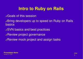 Intro to Ruby on Rails