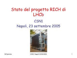 Stato del progetto RICH di LHCb