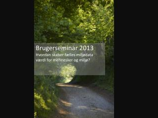 Brugerseminar 2013 Hvordan skaber fælles miljødata værdi for mennesker og miljø?