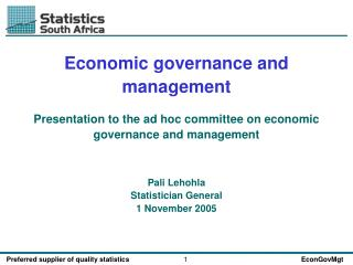Economic governance and management